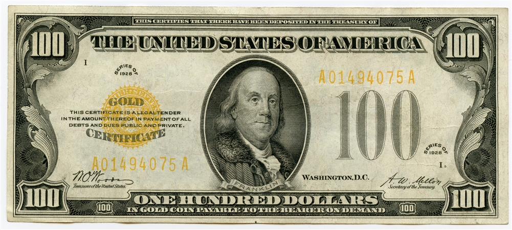 1928 $100 US Gold Certificate XF+