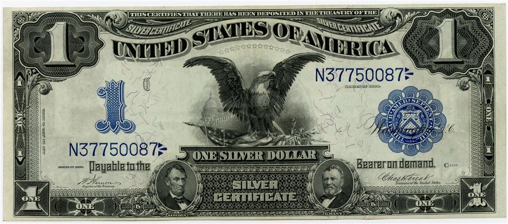 1899 $1 United States Silver Certificate Black Eagle AU/UNC