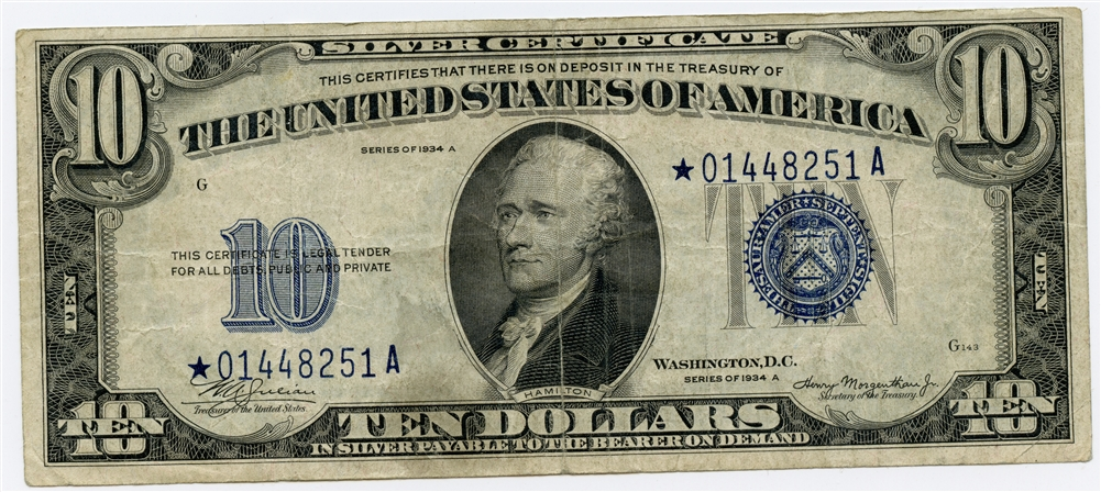 1934 A 10 United States Silver Certificate 9733 Note Vf