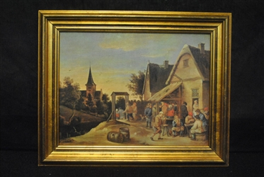 Original European Antique Oil Painting Of Lively Town