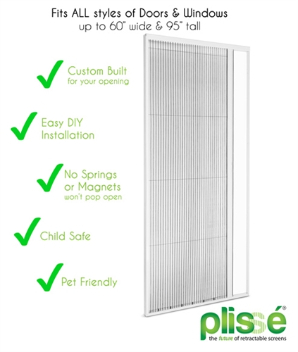 Plissé Single Retractable Door Screen