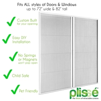 Plissé Double Retractable Door Screen, White