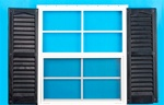 "18x27 Window with 9"" x 27"" Black Shutters"