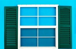 "18x27 Window with 9"" x 27"" Forest Green Shutters"