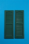 "9""x27"" Green Louvered Vinyl Shutters"