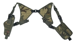 TG255CA Woodland Camo Universal Vertical Shoulder Holster with Mag Pouches - 3L-INTL