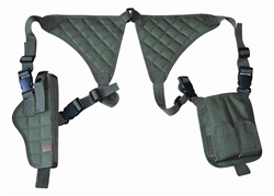 TG255GA OD Green Universal Vertical Shoulder Holster with Mag Pouches - 3L-INTL