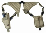 TG255TA Tan Universal Vertical Shoulder Holster with Mag Pouches - 3L-INTL