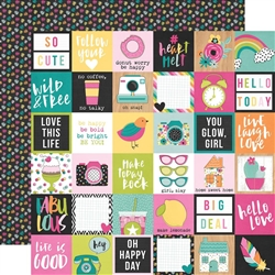 "Simple Stories - Oh, Happy Day Double-Sided Cardstock 12""x12"" 2x2 Elements"