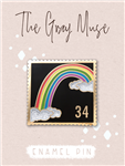 The Gray Muse - Rainbow Postage Stamp Enamel Pin (Black)