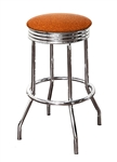 "Bar Stool 24"" Tall Chrome Finish Retro Style Backless Stool with a Copper Glitter Vinyl Covered Swivel Seat Cushion"