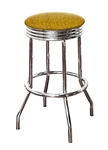 "Bar Stool 24"" Tall Chrome Finish Retro Style Backless Stool with a Gold Glitter Vinyl Covered Swivel Seat Cushion"