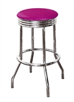 "Bar Stool 24"" Tall Chrome Finish Retro Style Backless Stool with a Hot Pink Glitter Vinyl Covered Swivel Seat Cushion"