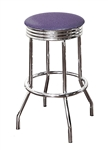 "Bar Stool 24"" Tall Chrome Finish Retro Style Backless Stool with a Lavender Glitter Vinyl Covered Swivel Seat Cushion"