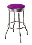 "Bar Stool 24"" Tall Chrome Finish Retro Style Backless Stool with a Purple Glitter Vinyl Covered Swivel Seat Cushion"