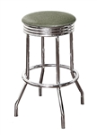 "Bar Stool 24"" Tall Chrome Finish Retro Style Backless Stool with a Silver Glitter Vinyl Covered Swivel Seat Cushion"