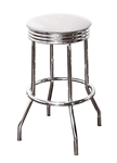 "Bar Stool 24"" Tall Chrome Finish Retro Style Backless Stool with an White Glitter Vinyl Covered Swivel Seat Cushion"