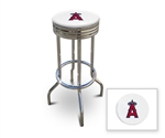 "Bar Stool 29"" Tall Chrome Finish Retro Style Backless Stool Featuring the Anaheim Angels MLB Team Logo Decal on a White Vinyl Covered Swivel Seat Cushion"