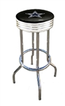 "1 - 29"" Swivel Seat Bar Stool Featuring the Dallas Cowboys NFL Team Logo Decal on a Black Vinyl Covered Seat Cushion"