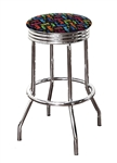 "Bar Stool 29"" Tall Chrome Finish Retro Style Backless Stool Featuring The Beatles Colorful Fabric Covered Swivel Seat Cushion"