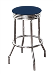 "Bar Stool 29"" Tall Chrome Finish Retro Style Backless Stool with a Blue Vinyl Covered Swivel Seat Cushion"