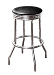 "Bar Stool 29"" Tall Chrome Finish Retro Style Backless Stool with a Black Glitter Vinyl Covered Swivel Seat Cushion"
