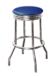 "Bar Stool 29"" Tall Chrome Finish Retro Style Backless Stool with a Blue Glitter Vinyl Covered Swivel Seat Cushion"