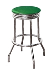 "Bar Stool 29"" Tall Chrome Finish Retro Style Backless Stool with an Emerald Green Glitter Vinyl Covered Swivel Seat Cushion"