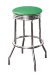 "Bar Stool 29"" Tall Chrome Finish Retro Style Backless Stool with an Green Glitter Vinyl Covered Swivel Seat Cushion"