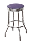 "Bar Stool 29"" Tall Chrome Finish Retro Style Backless Stool with a Lavender Glitter Vinyl Covered Swivel Seat Cushion"