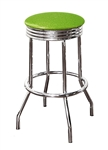 "Bar Stool 29"" Tall Chrome Finish Retro Style Backless Stool with an Lime Green Glitter Vinyl Covered Swivel Seat Cushion"