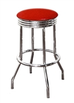 "Bar Stool 29"" Tall Chrome Finish Retro Style Backless Stool with a Red Glitter Vinyl Covered Swivel Seat Cushion"