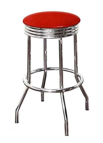 1 29 Swivel Seat Bar Stool Featuring A Red Glitter Vinyl Covered Cushion