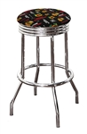 "1 - 24"" or 29"" Bar Stool Featuring a Blackhawks Hockey Team Logo Fabric Covered Swivel Seat Cushion"