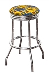 "Bar Stool 24"" or 29"" Tall Featuring a Bruins Hockey Team Logo Fabric Covered Swivel Seat Cushion"