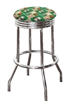 "Bar Stool 24"" or 29"" Tall Featuring a Celtics Basketball Team Logo Fabric Covered Swivel Seat Cushion"