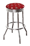 "Bar Stool 24"" or 29"" Tall Featuring a Crimson Tide A Football Team Logo Fabric Covered Swivel Seat Cushion"