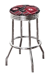 "Bar Stool 24"" or 29"" Tall Featuring a Crimson Tide Football Team Logo Fabric Covered Swivel Seat Cushion"