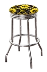 "Bar Stool 24"" or 29"" Tall Featuring a Hawkeyes Football Team Logo Fabric Covered Swivel Seat Cushion"