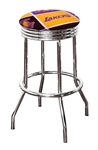 "Bar Stool 24"" or 29"" Tall Featuring a Lakers Basketball Team Logo Fabric Covered Swivel Seat Cushion"