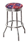 "Bar Stool 24"" or 29"" Tall Featuring a Pistons Basketball Team Logo Fabric Covered Swivel Seat Cushion"