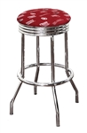 "Bar Stool 24"" or 29"" Tall Featuring a Sooners Football Team Logo Fabric Covered Swivel Seat Cushion"