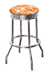 "Bar Stool 24"" or 29"" Tall Featuring a Tennessee Volunteers Football Team Logo Fabric Covered Swivel Seat Cushion"