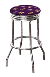 "Bar Stool 24"" or 29"" Tall Featuring a Tigers Football Team Logo Fabric Covered Swivel Seat Cushion"