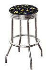 "Bar Stool 24"" or 29"" Tall Featuring a Wolverines Football Team Logo Fabric Covered Swivel Seat Cushion"