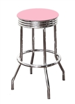 "Bar Stool 24"" or 29"" Tall Chrome Finish Retro Style Backless Stool with a Baby Pink Vinyl Covered Swivel Seat Cushion"