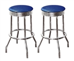 "Bar Stools 24"" Tall Set of 2 Chrome Retro Style Backless Stools with Black Glitter Vinyl Covered Swivel Seat Cushions"