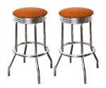 "Bar Stools 24"" Tall Set of 2 Chrome Retro Style Backless Stools with Copper Glitter Vinyl Covered Swivel Seat Cushions"