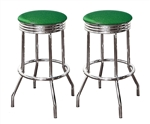 "Bar Stools 24"" Tall Set of 2 Chrome Retro Style Backless Stools with Emerald Green Glitter Vinyl Covered Swivel Seat Cushions"