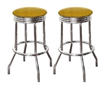 "Bar Stools 24"" Tall Set of 2 Chrome Retro Style Backless Stools with Gold Glitter Vinyl Covered Swivel Seat Cushions"
